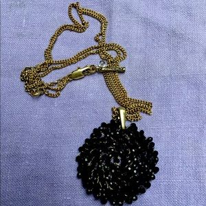 Vintage Kenneth Cole Black Bead Medallion Necklace